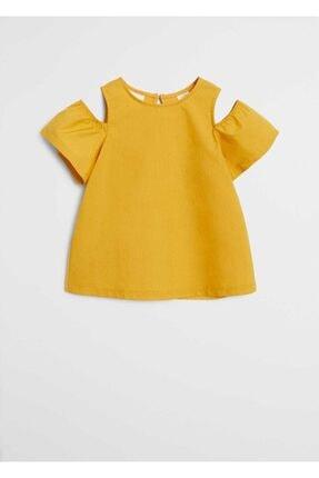 Mango Kız Çocuk Hardal Omuzları Açık Organik Pamuklu Gömlek