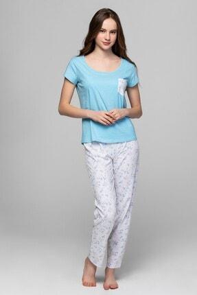 Sprıng Flover Kadın Mavi Beyaz Çiçek Baskılı Pijama Set L40056