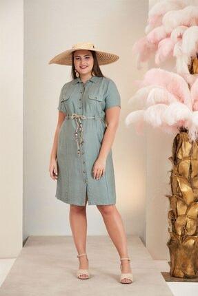 Rmg Bel Bağcık Detaylı Büyük Beden Keten Elbise - 4117 Yeşil