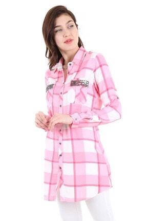 Bigdart Kadın Pudra Ekoseli Cepleri Taşlı Gömlek 3396bgd19_012