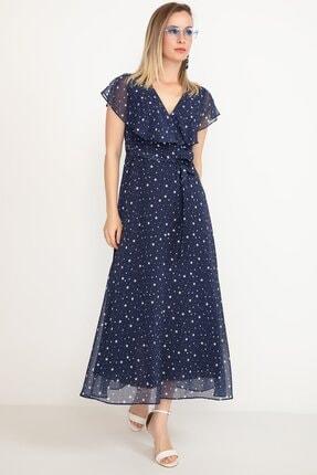 D-Paris Kadın Yıldız Desenli Şifon Elbise