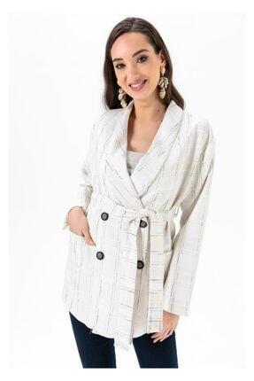 Tiffany A0186 Beli Bağlamalı Keten Ceket