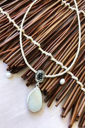 DR Stone Doğaltaş El Yapımı Gümüş Kaplama Afrika Koleksiyonu Kadın Sedef Taşı Kolye Xktdr4