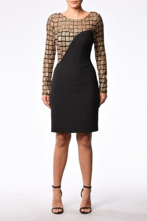 Altın Siyah Renkli Elbise MRKBYE20W-31-80491-010-J