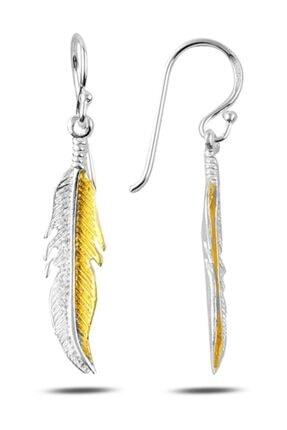 Silverella Gümüş 925 Ayar Altın Kaplama Sallantılı Kuş Tüyü Küpe