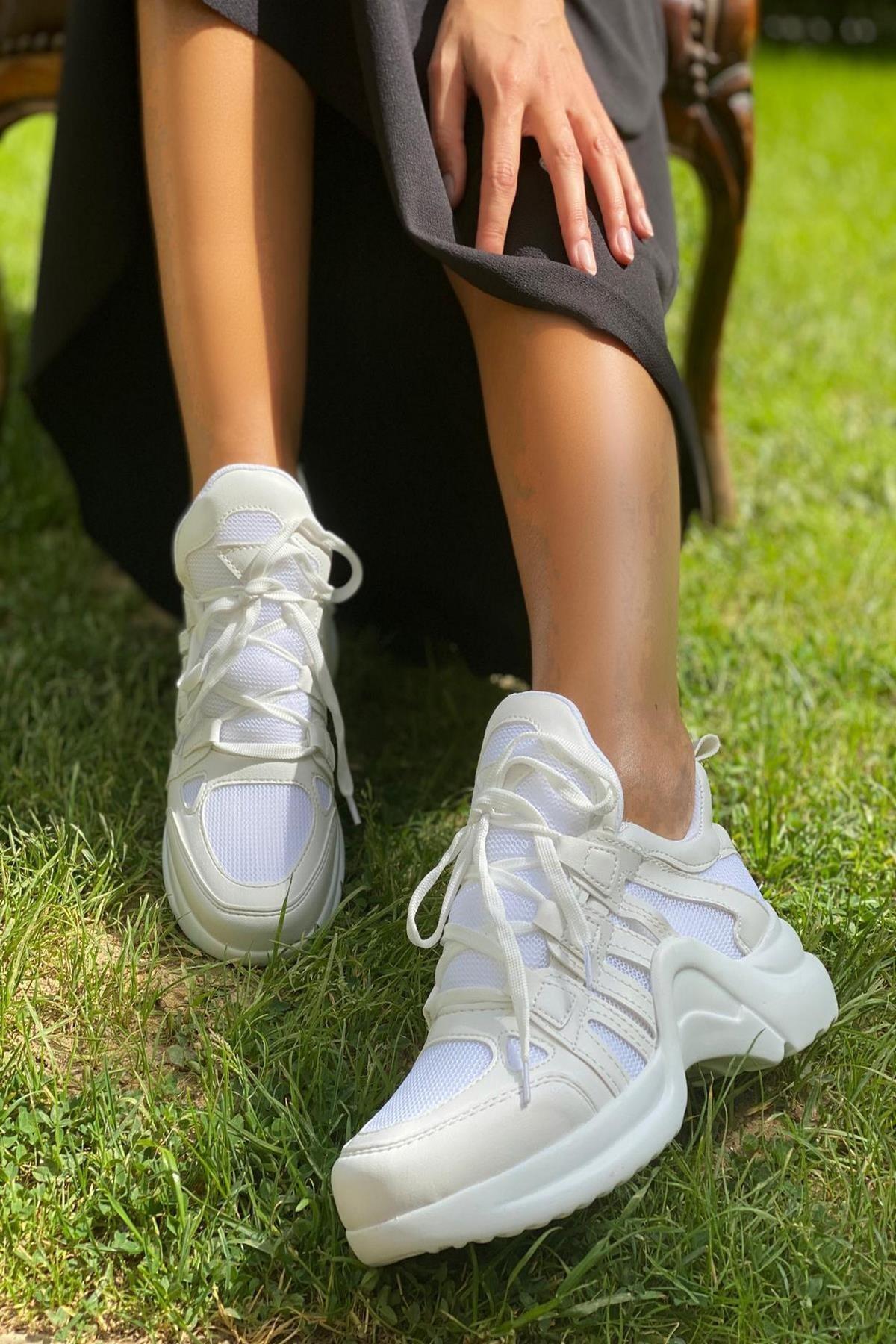 İnan Ayakkabı BAYAN BEYAZ FİLE SNEAKER SPOR AYAKKABI Y2020