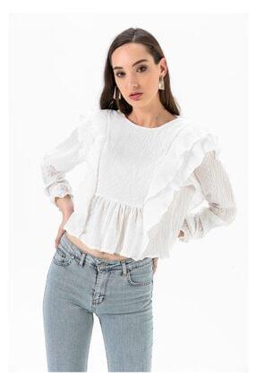 Tiffany A0092 Puantiyeli Şifon Bluz