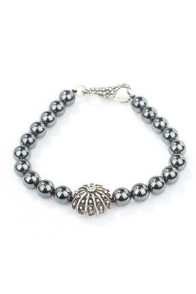 Nusret Takı 925 Ayar Gümüş Hematit Doğal Taşlı Erkek Bilekliği