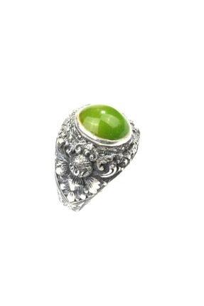 Nusret Takı Erkek 925 Ayar Gümüş Oval Yeşil Sıkma Kehribar Taşlı Kalemkar Yüzüğü
