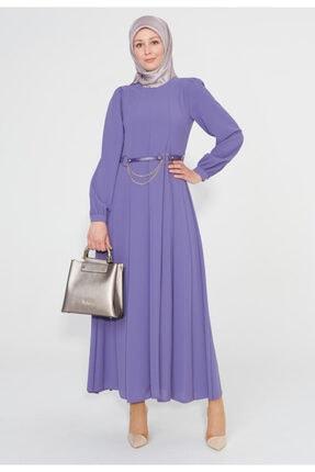 Setrms Parçalı Bel Kemerli Uzun Elbise
