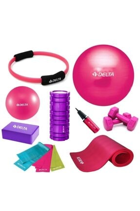 Delta 65-30cm Pilates Topu 10mm Minderi Foam Roller Yoga Blok Set