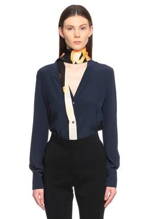 Lanvin Fularlı Lacviert-Sarı Bluz