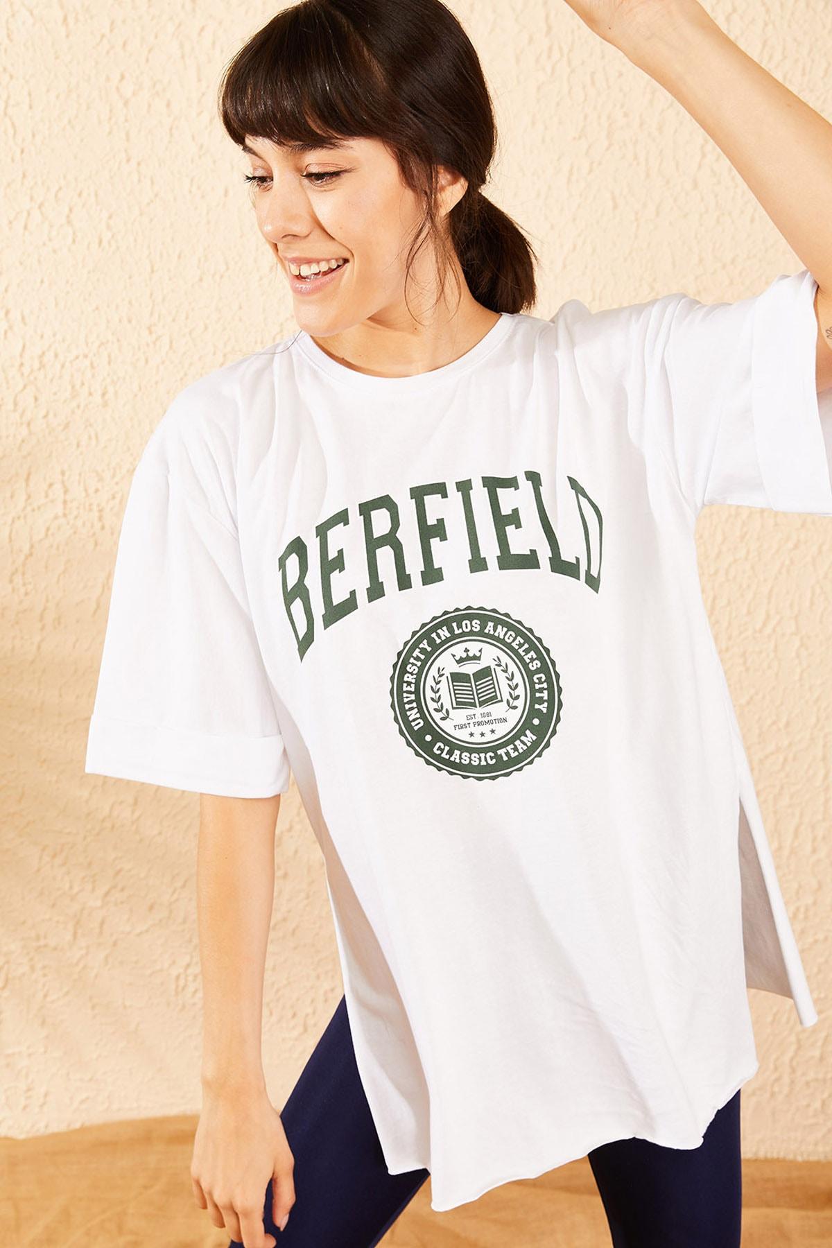 Bianco Lucci Kadın Beyaz Berfield Baskılı Yan Yırtmaçlı Oversize T-Shirt 10071037