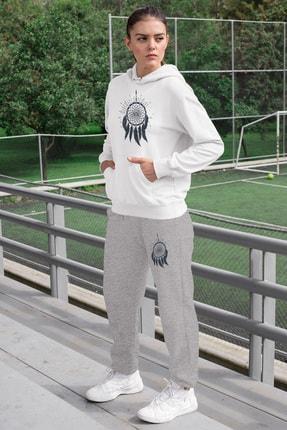 Angemiel Wear Tüylü Küpe Kadın Eşofman Takımı Beyaz Kapşonlu Sweatshirt Gri Eşofman Altı