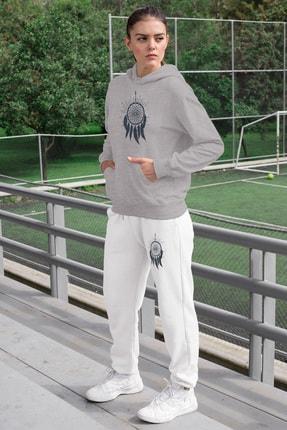 Angemiel Wear Tüylü Küpe Kadın Eşofman Takımı Gri Kapşonlu Sweatshirt Beyaz Eşofman Altı
