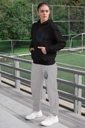 Angemiel Wear Tüylü Küpe Kadın Eşofman Takımı Siyah Kapşonlu Sweatshirt Gri Eşofman Altı