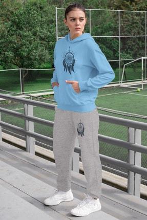 Angemiel Wear Tüylü Küpe Kadın Eşofman Takımı Mavi Kapşonlu Sweatshirt Gri Eşofman Altı