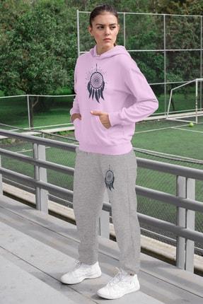 Angemiel Wear Tüylü Küpe Kadın Eşofman Takımı Pembe Kapşonlu Sweatshirt Gri Eşofman Altı