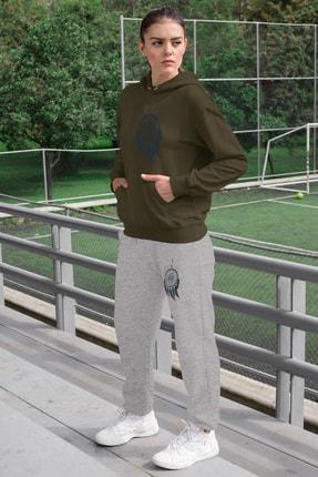 Angemiel Wear Tüylü Küpe Kadın Eşofman Takımı Yeşil Kapşonlu Sweatshirt Gri Eşofman Altı