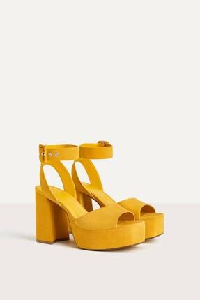 Kadın Hardal Platform Topuk Sandalet 11727560