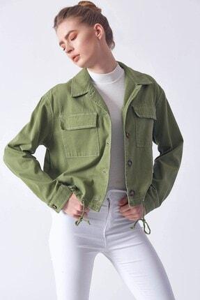 Robin Kadın Bağcık Detaylı Jean Ceket Açık Haki D89206-192