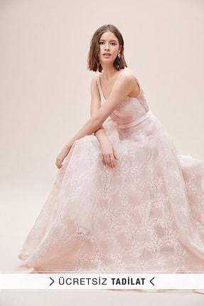 Oleg Cassini Kadın Toz Pembe Askılı Sırt Dekolteli Romantik Abiye Elbise 2XLWBM-CA19010