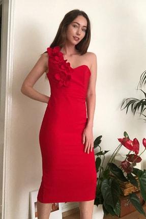 TrendyolMilla Kırmızı Aplike Detaylı Elbise TPRSS20EL2718