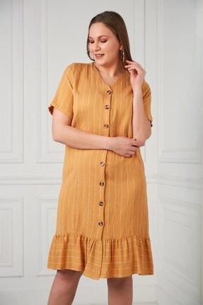 Rmg Çizgili Düğme Detaylı Büyük Beden Hardal Elbise