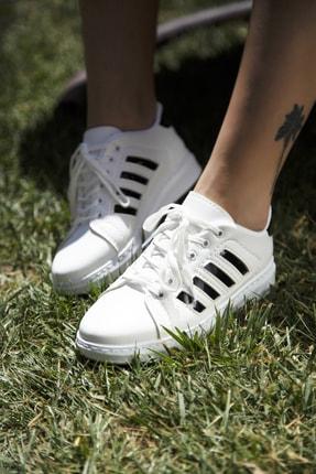 Ayakkabı Modası Beyaz-Siyah Kadın Sneaker 4000-19-101002
