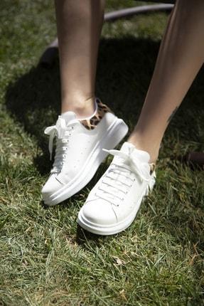Ayakkabı Modası Beyaz-Leopar Kadın Casual Ayakkabı 5007-20-110001