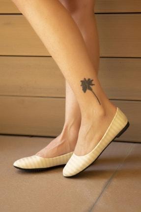 Ayakkabı Modası Altın Kadın Babet 4000-20-111015