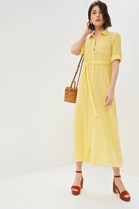 Vero Moda Kadın Sarı Truvakar Kol Belden Bağlamalı Uzun Gömlek Elbise 10213974 VMCIKKA