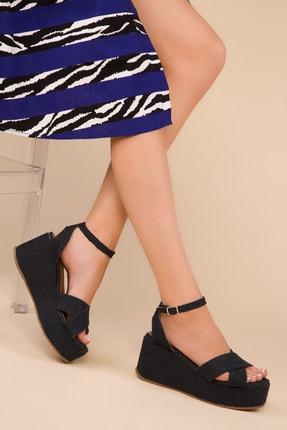 SOHO Lacıvert Keten Kadın Dolgu Topuklu Ayakkabı 15032