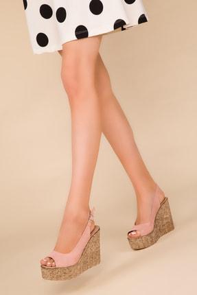 SOHO Pudra Suet Kadın Dolgu Topuklu Ayakkabı 14947