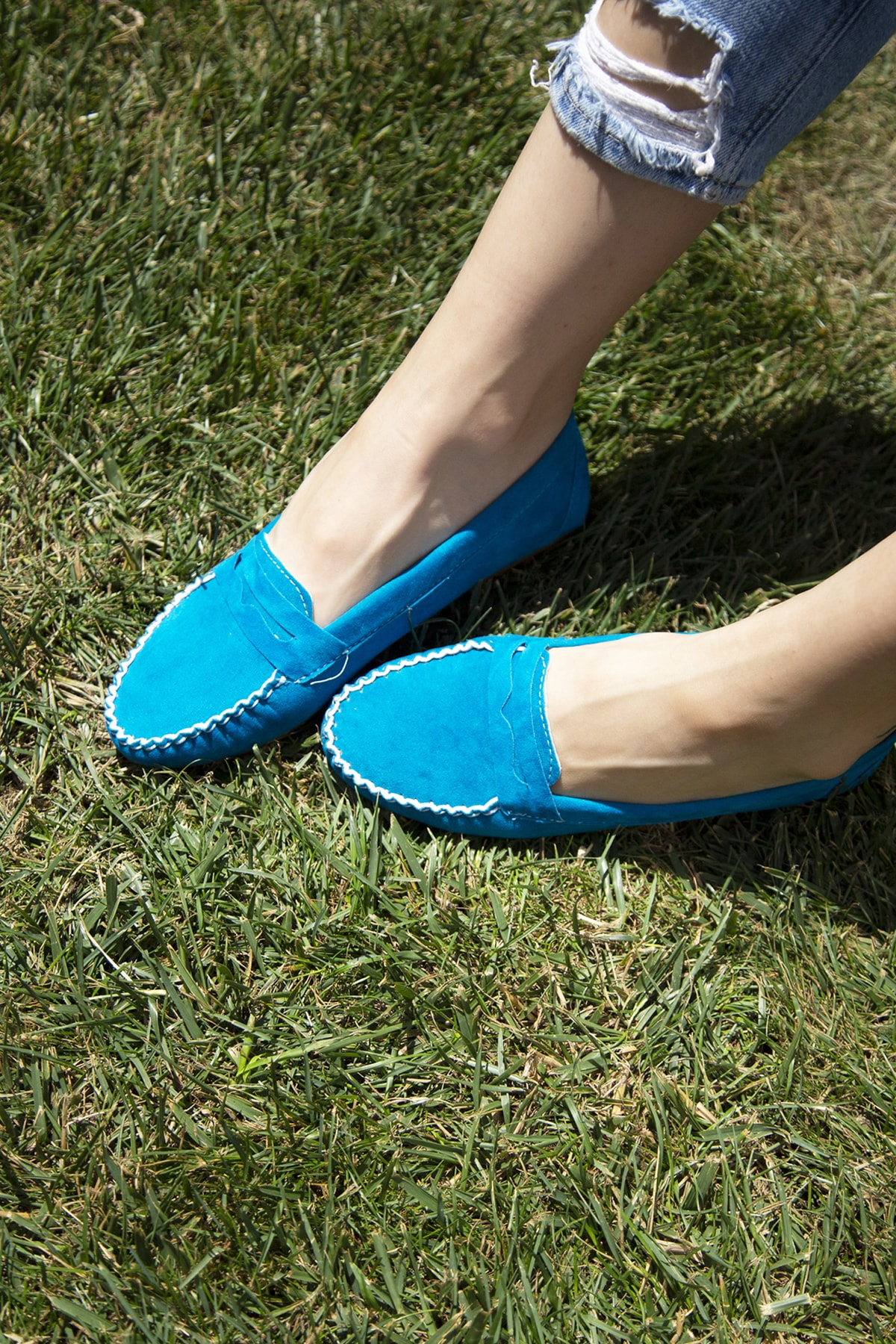 Ayakkabı Modası Mavi Kadın Babet BM-5008-20-111008