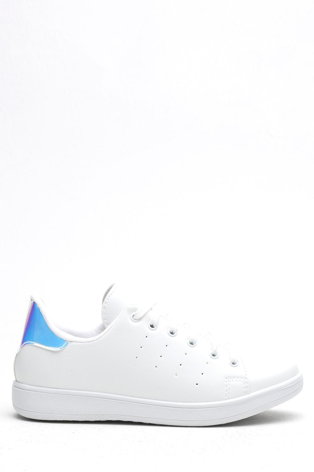 Ayakkabı Modası Beyaz-Mavi Kadın Casual Ayakkabı BM-4000-19-110003
