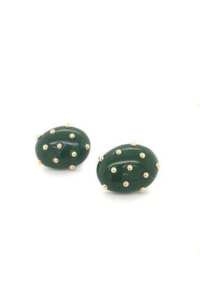 LUZDEMIA Kw. Düğme Küpe - 5 - Yeşil