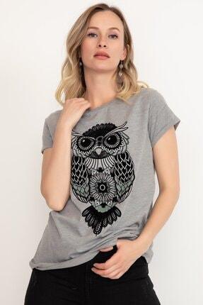 D-Paris Kadın Baykuş Baskılı T-shirt