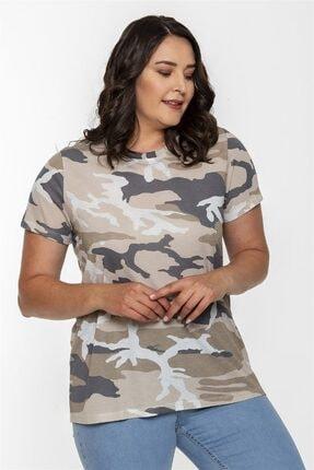 Seamoda Yuvarlak Yaka Kamuflaj Desen Basic Tshirt-bej