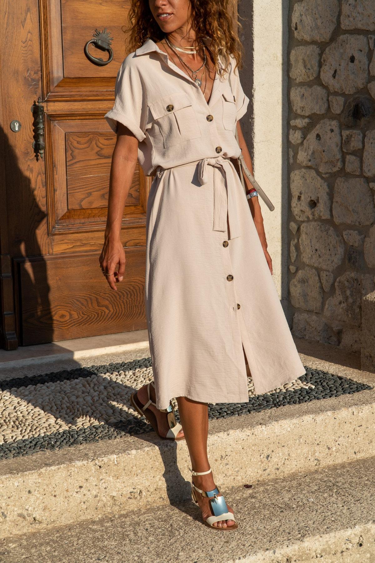 Güneşkızı Kadın Bej Cepli Kemerli Safari Airobin Elbise GK-BSTK4045