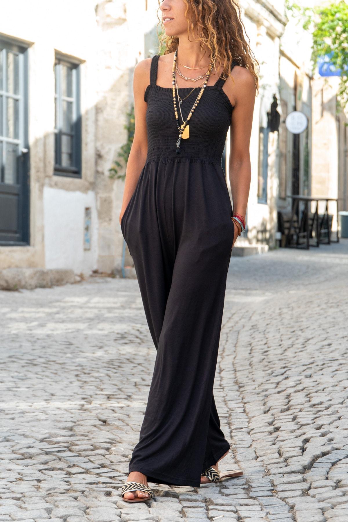Güneşkızı Kadın Siyah Askılı Gipeli Bol Paça Salaş Tulum GK-CCK58055