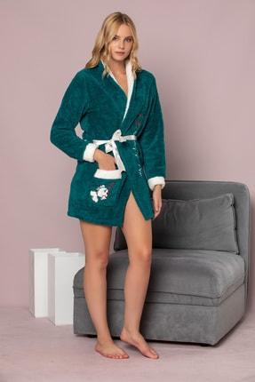 Elitol Kadın Koyu Yeşil Nakişli Welsoft Sabahlik