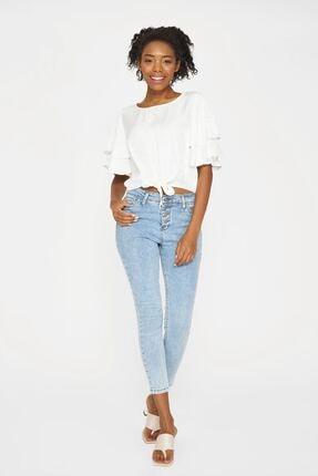Batik Y42685 Kadın Beyaz Düz Casual Bluz Kısa Kol
