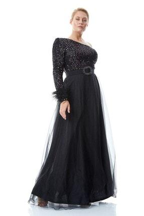 Keikei Kadın Pudra Pul Payet Tek Kol Uzun Büyük Beden  Elbise