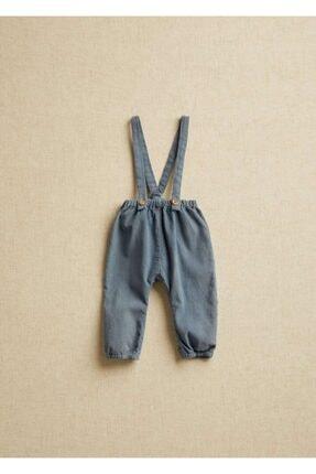 Mango Unisex Bebek Mavi Askılı Fitilli Kadife Pantolon