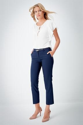 Journey Kadın Lacivert Arka Çift Fleto Cep Dar Paça Klasik Pantolon 18KPNT468