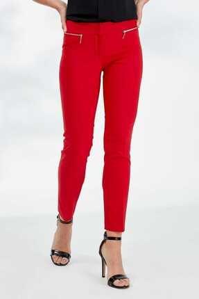 Journey Kadın Kırmızı Kemer Altı Metal FermuarlıDar Paça Bilekte Pantolon 19YPNT060