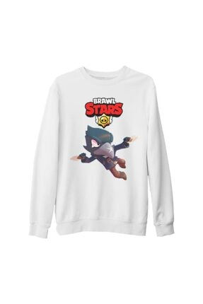 Lord Unisex Beyaz Brawl Stars Crow Kalın Sweatshirt