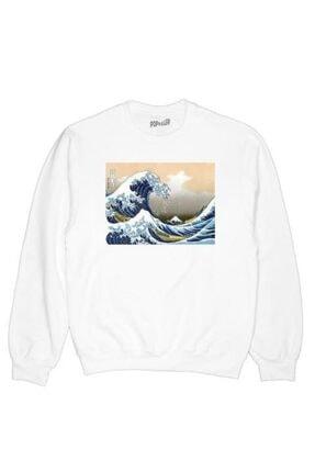 Köstebek Unisex Beyaz Great Wave Off The Coast Of Kanagawa By Katsushika Hokusai Uzun Kollu Sweatshirt