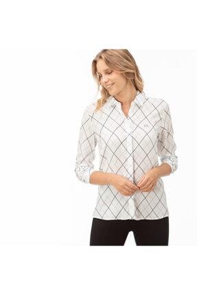 Lacoste Kadın Beyaz Çizgili Gömlek